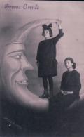 Louis Eugène Grobéty, Bonne Année, Jeunes Fille Sur Un Croissant De Lune (1.1.26) - Nieuwjaar