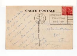 Sur CPA De Dijon Pour Paris CAD De Dijon Côte D'Or 1931. Flamme Flier Expo. Coloniale Paris 1931 Sur Timbre Expo. (3287) - Mechanical Postmarks (Advertisement)