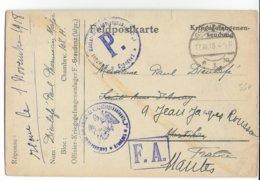 1918 - PRISONNIERS De GUERRE FRANCAIS PHARMACIEN MAJOR - CARTE De L'OFLAG De GRAUDENZ (RARE) => AURAY - Storia Postale