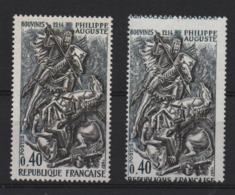 VARIETE  -  1967  -   PHILIPPE  AUGUSTE  N° 1538 D **,  Piquage  à  Cheval  + 1 Normal . - Variétés Et Curiosités