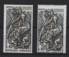 VARIETE  -  1967  -   PHILIPPE  AUGUSTE  N° 1538 D **,  Piquage  à  Cheval  + 1 Normal . - Errors & Oddities