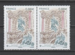 FRANCE / 2019 / Y&T N° 5304 ** : Fontaine Saint-Michel (Paris) X 2 En Paire - Gomme D'origine Intacte - France