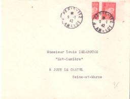 1F.Pétain Paire Dont 1 Coupé En 2 Sur Lettre DE PARIS 112 Du 9-1-42 Changement De Tarif Du 5-1-42 - Marcophilie (Lettres)