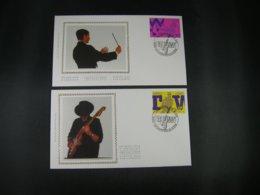 "BELG.1998 2757 & 2758 FDC's Soie/zijde (Dilsen) : "" Torhout-Werchter & Music Festival De Wallonie Guitar "" - 1991-00"