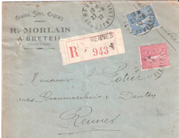 1f. + 75c.semeuse Lignée Type II Sur Lettre Recommandée Oblitéré RENNES - Storia Postale