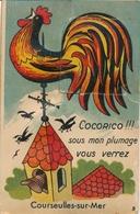 Leporello Cp Courseulles-sur-Mer Calvados, Wetterhahn Auf Dem Kirchturm - France