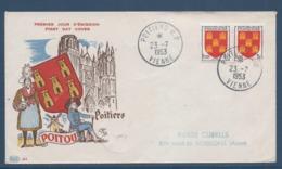 France FDC - Premier Jour - Poitou - Poitiers - 1953 - FDC