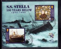 ALDERNEY 1999 NAUFRAGE S.S. STELLA 100 YEARS BELOW UPU BLOCK SHEET BLOCCO FOGLIETTO FIRST DAY SPECIAL CANCEL FDC - Alderney