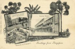 Straits Settlements, SINGAPORE, Battery Road, HK & Shanghai Bank (1899) Postcard - Singapour