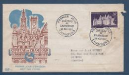 France FDC - Premier Jour - Château De Chambord - 1952 - 1950-1959