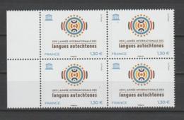 FRANCE / 2019 / Y&T SERVICE N° 176 ** : UNESCO (Année Internationale Des Langues Autochtones) X 4 En Bloc Dont 2 BdF G - Service