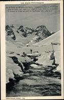 Cp Monetier Les Bains Hautes Alpes, De La Grave, Chalets Et Glaciers D'Arsine, Skieur - France