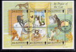ALDERNEY 1996 IN PRAISE OF THE CAT GATTO PET ANIMAL BLOCK SHEET BLOCCO FOGLIETTO FIRST DAY SPECIAL CANCEL FDC - Alderney