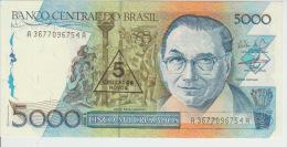 Brasil 5 Cruzados On 5000 Cruzados 1989 Pick 217b UNC - Brazil