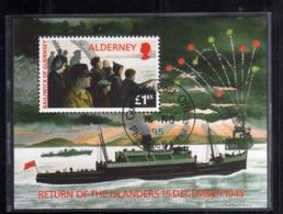 ALDERNEY 1995 RETURN ON THE ISLANDERS OF 15 DECEMBER 1945 BLOCK SHEET BLOCCO FOGLIETTO FIRST DAY SPECIAL CANCEL FDC - Alderney