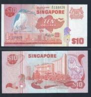 RARE !!  SINGAPORE 10 DOLLARS  BIRD MERLION MAP BANKNOTE (#127A) UNC - Singapore