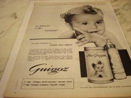 ANCIENNE PUBLICITE  DOCTEUR DIT GUIGOZ 1961 - Posters