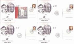 Italia 2001 - Bellini, Cimarosa, Spontini E Verdi Nel Melodramma. Su 4 Cartoline - Musica