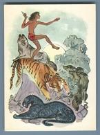 1975 MOWGLI And AKELA Wolf Bagira Tiger Jungle By Stroganova Soviet USSR Postcard - Bambini