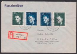 Bertolt Brecht 1898 - 1956 Dramatiker Und Dichter, DDR 593/94(2), R-Brief Meiningen, Portogenau, Kulturbund-Tauschmarke - [6] Democratic Republic