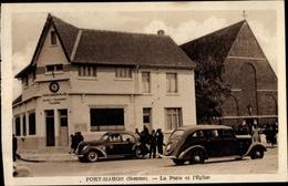 Cp Fort Mahon Somme, La Poste Et L'Eglise, Autos - Francia