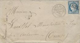 1876- Enveloppe De ST AUBIN-DU-JURA  ( Jura) Cad T17 Affr. N°60  Oblit. G C 6392 - SUPERBE - 1849-1876: Période Classique