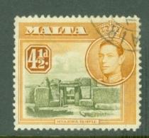 Malta: 1938/43   KGVI     SG224    4½d       Used - Malta (...-1964)