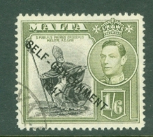 Malta: 1948/53   KGVI 'Self Government' OVPT    SG244    1/6d    Used - Malta (...-1964)