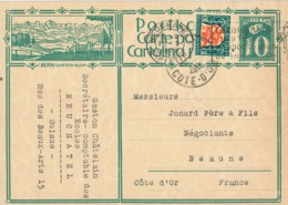 Ganzsache Bern Gurten Kulm - Neuchatel Nach Beaune Cote D'Or - Zufrankierung Winterthur Zürich 1929 Anker Löwe - Svizzera