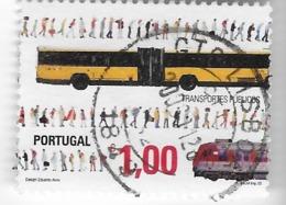 TIMBRES - STAMPS - SELLOS - FRANCOBOLLI - PORTUGAL - 2005 - TRANSPORT PUBLIC - BUS - TIMBRE OBLITÉRÉ - Busses