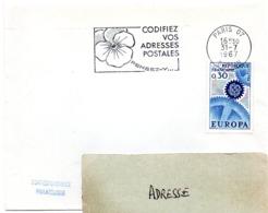 PARIS 07 - BOTTIN 1967 = FLAMME Codée = SECAP Multiple ' PENSEZ + CODIFIEZ' = Pensée N° 1 - Zipcode