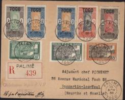 Togo YT 101 102 X2 104 106 132 140 144 Recommandé Dos YT 124 126 107 108 CAD Palimé 10 No 38 Arrivée Toul France 7 12 38 - Togo (1914-1960)