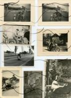 9 PHOTOS .Personnages Assis Sur D'anciennes Motos. Immatriculation . Homme Femme Enfant - Automobiles