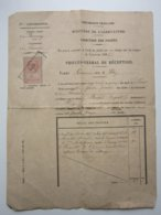 Cachet Sur Timbre Fiscal Oblitéré 899 - DIRECTION DES FORÊTS - PROCES VERBAL Forêt D'Héry (58) Année 1898 - Fiscales