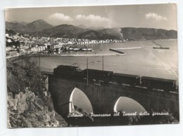 SALERNO - Panorama Col Tunnel Della Ferrovia - Locomotiva Con Vagoni - Viaggiata 1953 - Salerno