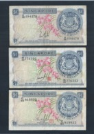 RARE !!  SINGAPORE 1 DOLLAR LION ORCHID FIRST MONEY BANKNOTE 3 DIFFERENT SIGNATURE (142) - Singapore