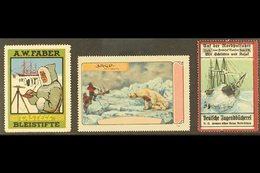POLAR CINDERELLAS  Early 20th Century Three Different Colourful Labels On A Stock Card, Unused No Gum, Small Faults, Sca - Briefmarken