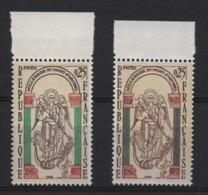 VARIETE  -  1966  -  MONT  SAINT  MICHEL  N° 1482 B **,  Couleur Gris Au Lieu De Vert ( Colonnes )  +  1 Normal . - Variétés Et Curiosités