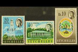 "1968  OVERPRINT VARIETIES 20c No Stop After ""I"" 40c & 10r No Stop After ""O"" SG 4a, 6b, 15c, Mint (3 Stamps). For More Im - Britisches Territorium Im Indischen Ozean"