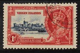"1935 JUBILEE VARIETY  1d Deep Blue And Scarlet, Silver Jubilee, Variety ""Kite And Horizontal Log"", SG 103L, Very Lightly - British Virgin Islands"