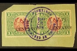 """1916  12½ On 1c Claret & Green """"13½"""" FOR """"12½"""" Variety In Horizontal SE-TENANT PAIR With Normal Stamp, SG 153+153d, Very - Guatemala"""