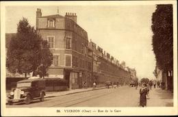 Cp Vierzon Cher, Rue De La Gare - France