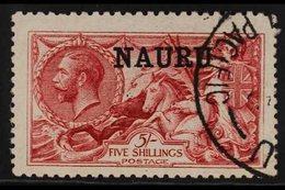 "1916-23  5s Bright Carmine ""Seahorse"", De La Rue Printing, SG 22, Very Fine Used. For More Images, Please Visit Http://w - Nauru"