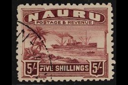 """1924-34  5s Claret """"Freighter"""" On Rough Surfaced Greyish Paper, SG 38A, Fine Used. For More Images, Please Visit Http:// - Nauru"""