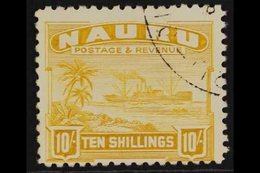 """1937-48  10s Yellow """"Freighter"""" On Shiny Unsurfaced White Paper, SG 39B, Very Fine Used. For More Images, Please Visit H - Nauru"""