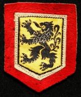 POLITIQUE - Ancien écusson Du Mouvement Nationaliste FLAMAND (sur Cuir Rouge) Différent De L'officiel Des Flandres - Blazoenen (textiel)