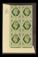1939  9d Deep Olive-green Corner Block 6 With Cylinder 2 (no Dot) Control I/41, Never Hinged Mint. For More Images, Plea - 1902-1951 (Könige)
