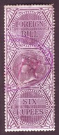 British India-Queen Victoria 6 Rupees 1861 Issue Foreign Bill Stamp #DIU36 - India