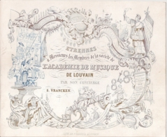 """LEUVEN-LOUVAIN """" ETRENNES L' ACADEMIE DE MUSIQUE""""LITH.BARELLA-207/168MM - Cartes Porcelaine"""