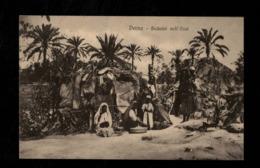 Cartolina Posta Militare IV Divisione Tripolitania - Derna Beduini Nell'oasi - Militari